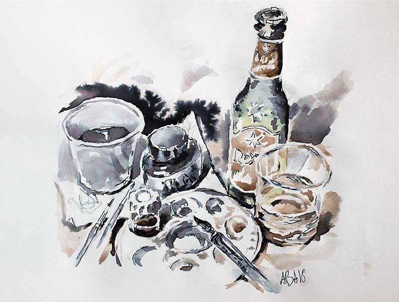 Royal-øl som akvarel